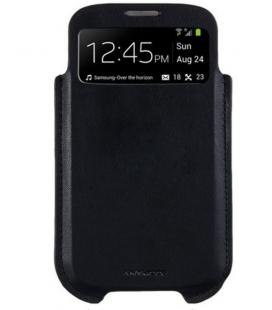 Púzdro ANYMODE s priehľadom pre Samsung Galaxy S4, PU koža, podpora S-View, čierne