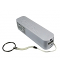 Nabíjačka - Powerbanka PTU-3 s USB výstupom a LED svietidlom, 2600 mAh, 1A, biela