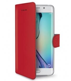 Púzdro typu kniha CELLY Wally pre Samsung Galaxy S6 Edge, PU kože, červené