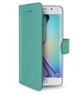 Púzdro typu kniha CELLY Wally pre Samsung Galaxy S6 Edge, PU kože, tyrkysové