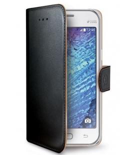 Púzdro typu kniha CELLY Wally pre Samsung Galaxy J1, PU koža, čierne